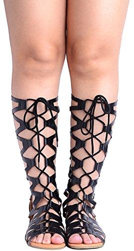 Odema Donne Roman Tagliare ginocchio Sandali Tacchi Strappy gladiatore Thong Flat Boots 1-nero
