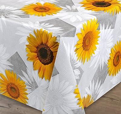 Wachstuch Tischdecke Meterware abwischbar, glatt Sonnenblumen Grau Gelb, Länge wählbar von Beautex bei Gartenmöbel von Du und Dein Garten