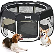 MC Star Portable Playpen For Dogs Puppies cats Ribbits Pop up Lightweight waterproof XL: 125 x 125 x 64 cm (Black)