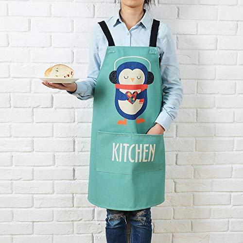 YXDZ Cartoon Baumwolle Leinen Hause Küche Kochen Taille Kaffee Tee Shop Backen Arbeitskleidung Männer Und Frauen Taille Taille Koch Kleid Pinguin 78 * 92 cm - Abt Tee