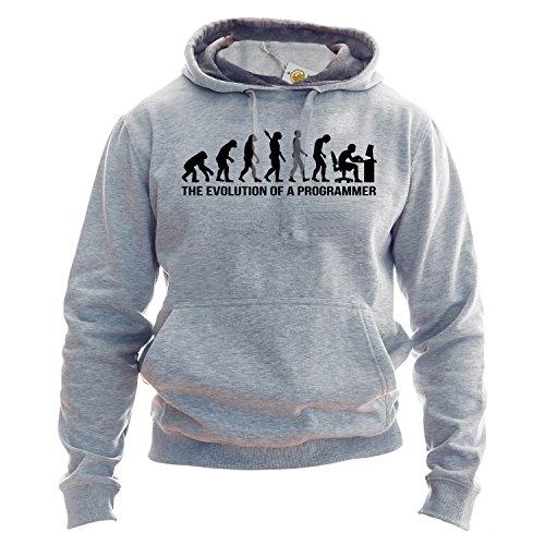 Programmer Evolution Hoodie The Evolution Of Programmer Developer Hoodie Unisex Hooded Sweatshirt Felpa con Cappuccio Grigio