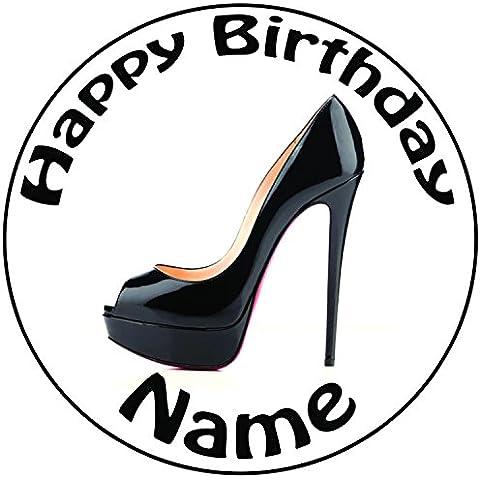 Personalizzato nero tacco alto scarpe–Topper per torta a pre-cut rotondo 8