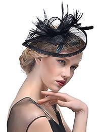 Anmain Piuma Fascia Capelli Donna Fiori Fasce Capelli Moda Headwrap Headwear  Sposa Forcine Capelli Cerimonia Headband Vintage Mollette… df46d96963bb