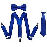 Kinder Hosenträger Fliege Krawatte Set - Verstellbare Elastische Mode Kleidung Accessoire für Jungen und Mädchen (Königsblau)