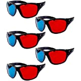 HRINKAR Anaglyph 3D Glasses for Mobile Phone, Computer, Laptop, TV, Projector and Magazines (Red and Cyan) -5 Pcs Pack