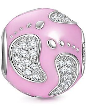 NinaQueen - Fußabdruck - Damen-Charm Anhänger 925 Sterling Nickelfrei Beads