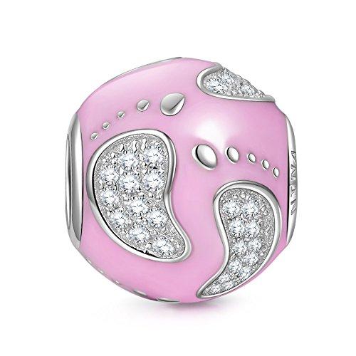 NinaQueen - Footprint - Charm pour femme argent 925 Footprint Perle