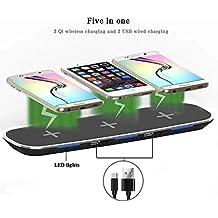 Kobwa Qi Cargador inalámbrico, triple inalámbrico carga Soporte con 2puertos USB para Apple iPhone 8/8Plus, iPhone X, Samsung Galaxy Note 8S8S8Plus S7Edge S7S6Edge Plus Ordenador 5, negro
