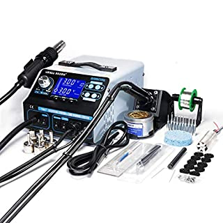 YIHUA 992DA+ 4 in 1 HOT AIR REWORK Station Soldering Iron Station Fume Extractor & Vacuum Pick up Tool with Many New Features UK Plug