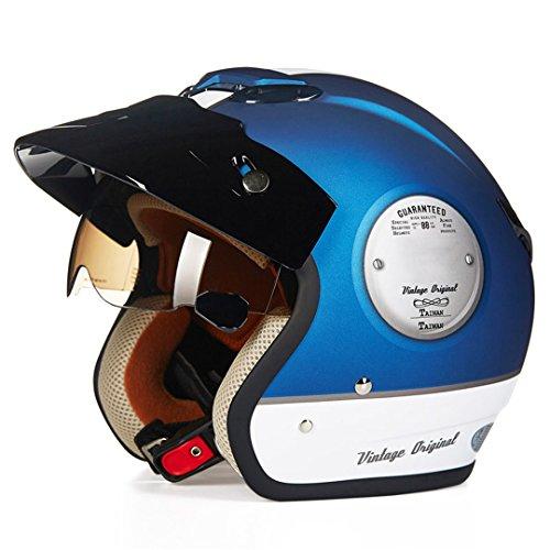 Harleeyr Offenes Gesicht 3/4 Motorrad Motorcross Casco Capacete Helm, Roller Helm Vintage Retro Motorrad Schutzhelm Blue XXL (Vintage Motorrad-zahnrad)