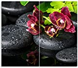 Wallario Herdabdeckplatte/Spritzschutz aus Glas, 2-teilig, 60x52cm, für Ceran- und Induktionsherde, Dunkelrote Orchideen-Blüte auf Schwarzen Steinen mit Regentropfen