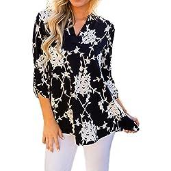 Blusa con Cuello en V Boho para Mujer Camisa de Manga Larga Floral Imprimir Tops Blusa Casual ❤️ Manadlian