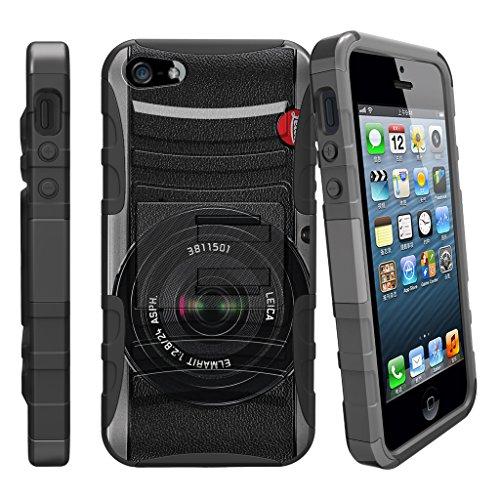 Fall für iPhone SE, 5S 5SE | iPhone 5/5S/SE Fall [Clip Armor] stoßfest Hybrid Schutzhülle w/Ständer + Bonus Holster Gürtelclip-Rot Schwarz Drachen, Retro-Kamera