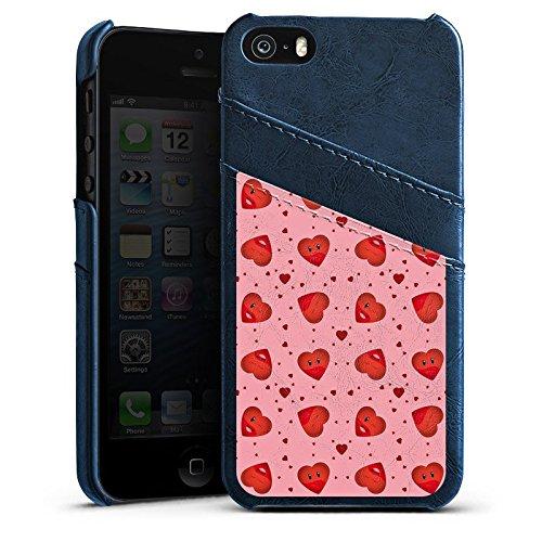 Apple iPhone 4 Housse Étui Silicone Coque Protection Saint-Valentin Rose vif C½urs Étui en cuir bleu marine