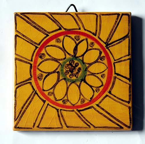 Geometrische Fliese - Keramikfliese von Hand dekoriert, Abmessungen cm 10x10x0,8 cm Made in Toskana Italien, Certified Lucca. -
