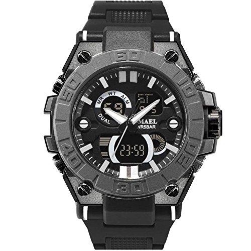 Zhruiy orologi da polso zh-079 numero + puntatore display el retroilluminazione sport all'aria aperta multifunzione 50m impermeabile orologi elettronici imballaggio in scatola di ferro 9 colori