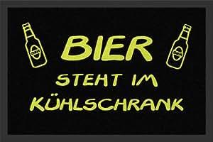 Paillasson avec texte humoristique 'Bier distance entre le GI Kühlschrank'allemand dans la bière Fridge'chemises en polypropylène 60 x 40 cm