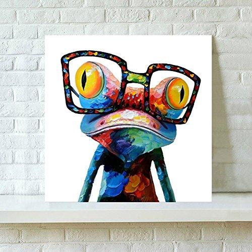 Pinturas Modernas con Marco -Rana Con Gafas, Cuadro Pintura de Pared Impresión de Moderna Lona Arte Decoración Salón Moderna Abstracto Arte en Pintado