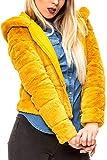 ONLY Damen Kunstpelz Jacke Kapuzenjacke Winterjacke Plüschjacke Blouson (S, Golden Yellow)