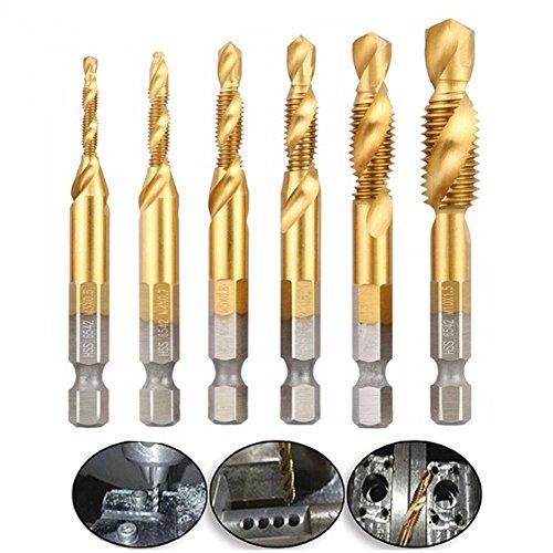 Phego 6 teilig Kombi Gewindebohrer Bit Satz 1/4'' HSS M3-M10 Schraube Sechskantschaft Senker Werkzeuge Bohrer Bit Set(6-teilig(6542))
