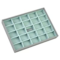STACKERS �??CLASSIC SIZE�?? Dove Grey Cross Hatch 25 Section STACKER Jewellery Box with Mint Lining.