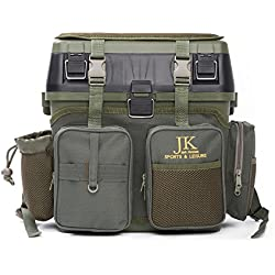 JK Sports & Leisure Box für Angelköder, dient auch als Sitzgelegenheit–Für alle Angel-Arten, mit Schultergurt