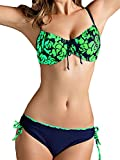 GOZAR Donne Plus Size Bikini Ferretto Push Up Costumi Da Bagno Stampa Floreale Costume-Verde-4XL