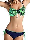 GOZAR Donne Plus Size Bikini Ferretto Push Up Costumi Da Bagno Stampa Floreale Costume-Verde-4XL