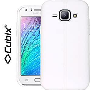 Galaxy J1 Case, CUBIX Stiched Line Design Armor Flip TPU Back Case Cover For Samsung Galaxy J1 (White)