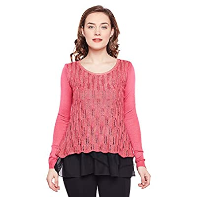 CAMEY Women's Pink Round Neck Twisted Cable Knit Girl Plain Print Pullover Sweaters