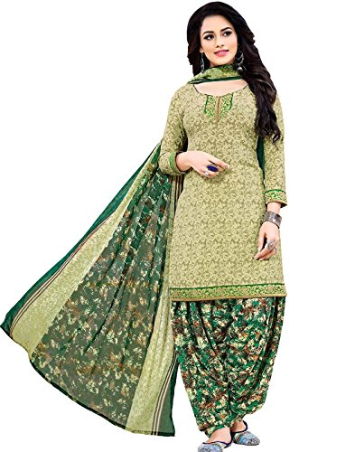Jevi Prints Women's Unstitched Faux Crepe Olive & Green Floral Printed Dress Material with Mangalgiri Border (R-2007)