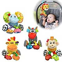 Sozzy myangelshop Rattle Toy Giraffe Animal Buzzing Activity Baby Plush Stuffed Toy- Clip On Pram And Pushchair Newborn Baby Toy 0+ Months