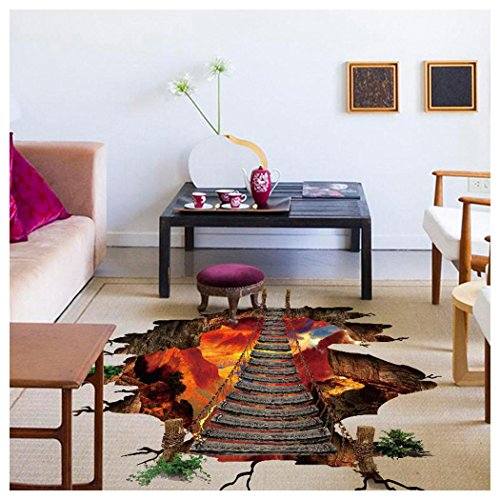 Wall Stickers, Fuibo 3D Flaming Floor Wall Stickers Removable Mural Decals Vinyl Art Living Room