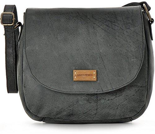 Umhängetasche aus Naturleder, Schwarz / Anthrazit - Damen Handtasche mit Schnellverschluss - Schultertasche 26 x 22 x 8 cm - vintage Saddle Bag von MASQUENADA (Naturleder Taschen)