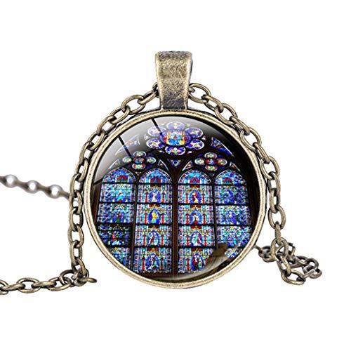 UINGKID Kette Damen Halskette Schmuck Anhänger Ausverkauf Rose Window Glasmalerei de Paris Kathedrale Anhänger Halskette ()
