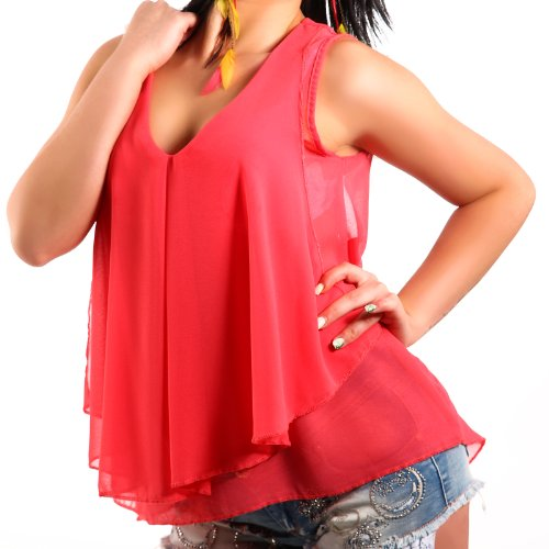 Young Fashion Volant Shirt Transparent Top Bluse Ausschnitt 34-38 Coral