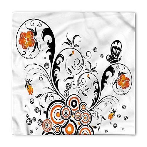 , Flower Butterflies, Unisex Bandana Head and Neck Tie Neckerchief Headdress Silk-Like 100% Polyester ()