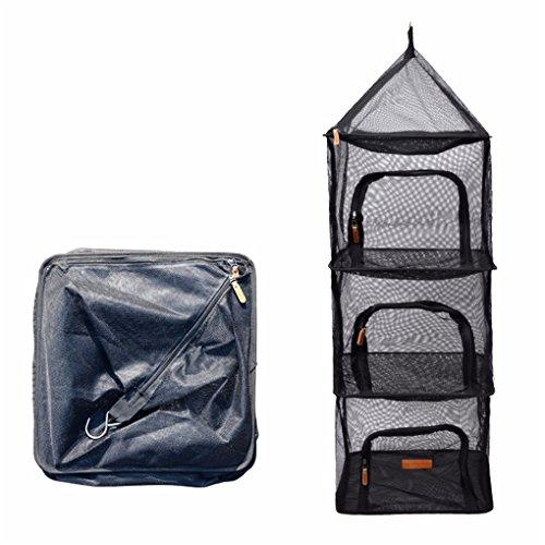 CFtrum 4-Schicht Faltbare Hanging Trocknen Net Mesh Camping Organizer Mesh Trockner Lagerung mit Reißverschlüssen für Picknick zu Hause Camping, Lebensmittel, Gemüse, Obst, Kleidung -