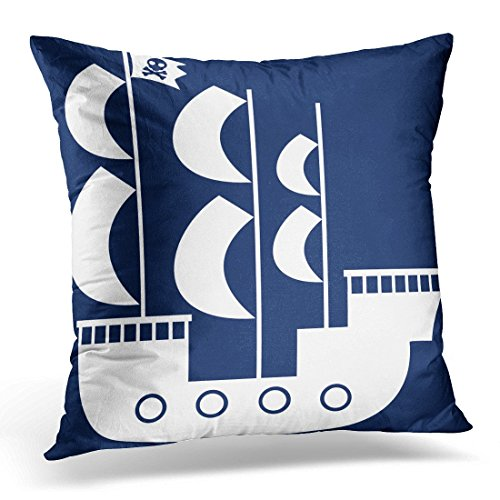 Throw Pillow Cover Nautical Pirate Ship in Navy Blue Nursery Decorative Home Decor Square 18 x 18 Inch Pillowcase