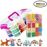 Umiwe Abalorios Cuentas,8400 Perlas 30 Color(6 Brillar en Oscuridad) 5 mm Hama Beads con Muchos Accesorios para Niños Niños DIY Artesanía Juguetes Educativos DIY (8400 Perlas)