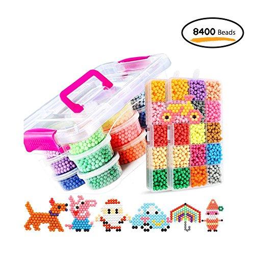 KOBWA Aquabeads Nachfüllset für Aquabeads Starter Set, 30 Farben 8400 Fuse Beads Bastelset DIY Designer Kollektion mit Perlen und Zubehör für Kinder