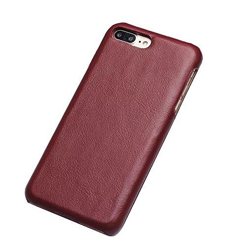 Vertikaler Flip Case, Luxus Premium Echtes Leder Gehäuse Shell Abdeckung Magnetverschluss Design Für IPhone 7 Plus und 8 Plus ( Color : Wine ) Wine