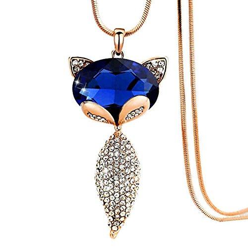 Tangbasi Halskette, Frauen Mädchen Shining Fox Pullover Kette Lange Halskette Anhänger Kleidung Zubehör, Golden + Blue, Einheitsgröße