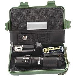 Tefamore Linterna Táctica Policía Zoomable X800 XML T6 LED + 18650 Batería + Cargador + Estuche (Negro)
