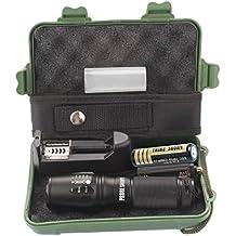 Tefamore Linterna Táctica Policía Zoomable X800 XML T6 LED + 18650 Batería  + ... 7b4636fabb5e