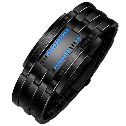 Preisvergleich Produktbild iHee Armband, bequem zu tragen, Luxus-Edelstahlband für Herren, digitales LED-Armband, Sportuhr, modisch, leicht zu verwenden, sehr cool (Schwarz)