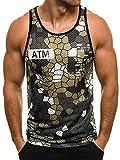 OZONEE Herren Tanktop Tank Top Tankshirt T-Shirt mit Print Unterhemden Ärmellos Weste Muskelshirt Fitness MADMEXT 1966 GRÜN XL