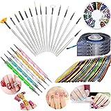 Junecat Decorazione di arte del nastro della striatura di chiodo corredo della spazzola che punteggia la penna di chiodo 12 colori Strass Pallet Set accessori per la manicure