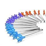 BENHAI 1PC Mini-Küche kreative rostfreie kreative Silikon-Clip kleine Palme neue Stahlzangen Eis rutschfeste Clip-Tools (Orange)