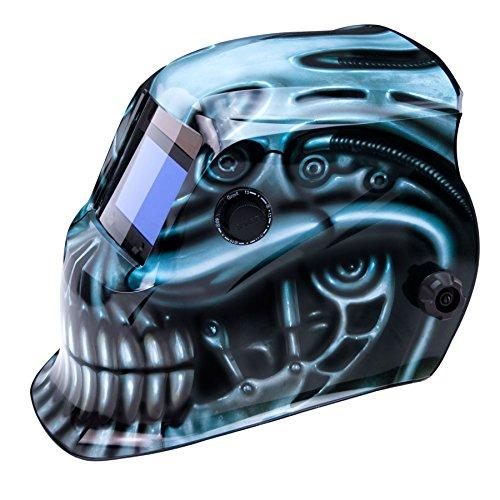 True-Fusion BioMech IQ1700 Solarbetriebene Automatisch verdunkelnd Schweißhelm / Maske mit Schleif-Funktion + GRATIS Helmtasche, Ersatzlinse und Schweißband